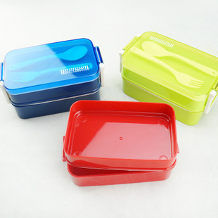 2015 High quality new American double layers food container microwave oven lunch box image