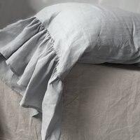 Linen Pillowcase with Mermaid Long Ruffles 100% Pure Linen Pillow case Free Shipping