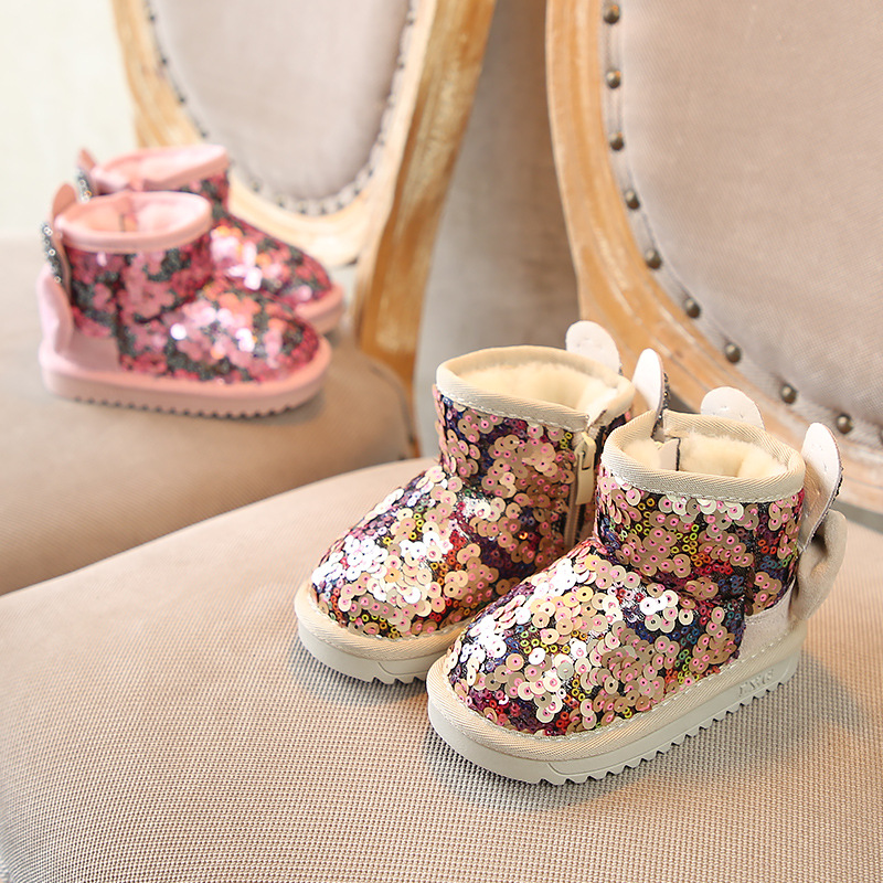 New Arrival 2018 Rabbit Bling Winter Shoes for Girls Plush Toddler Boy Boots Kids Keeping Warm