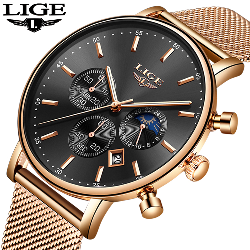 2018 Mens Watches Top Brand Luxury LIGE Men's Casual Fashion Quartz Watch Men Stainless Steel Waterproof Watch Relogio Masculino 2016 hot sale top brand ailang luxury men watches casual fashion waterproof stainless steel wristwatches mechanical watch