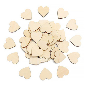 10/25/50/100pcs Blank Heart Wood Slices Discs Wood Heart Love Blank Unfinished Natural Crafts Supplies Wedding Ornaments(China)