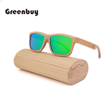 Vintage nature handmade green sunglasses bamboo male polarized