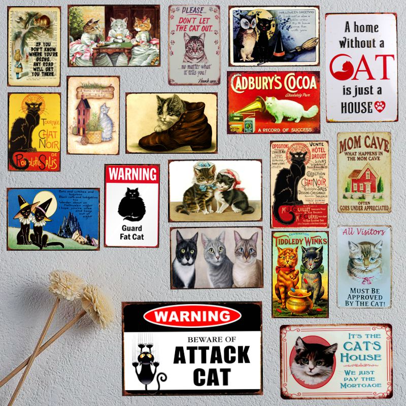 Et hjem uden kat er bare et hus Pet-tegn Metal Animal Tin Sign Vintageplader Til Vægkunst Retro Home Decor 30X20CM A-5195B
