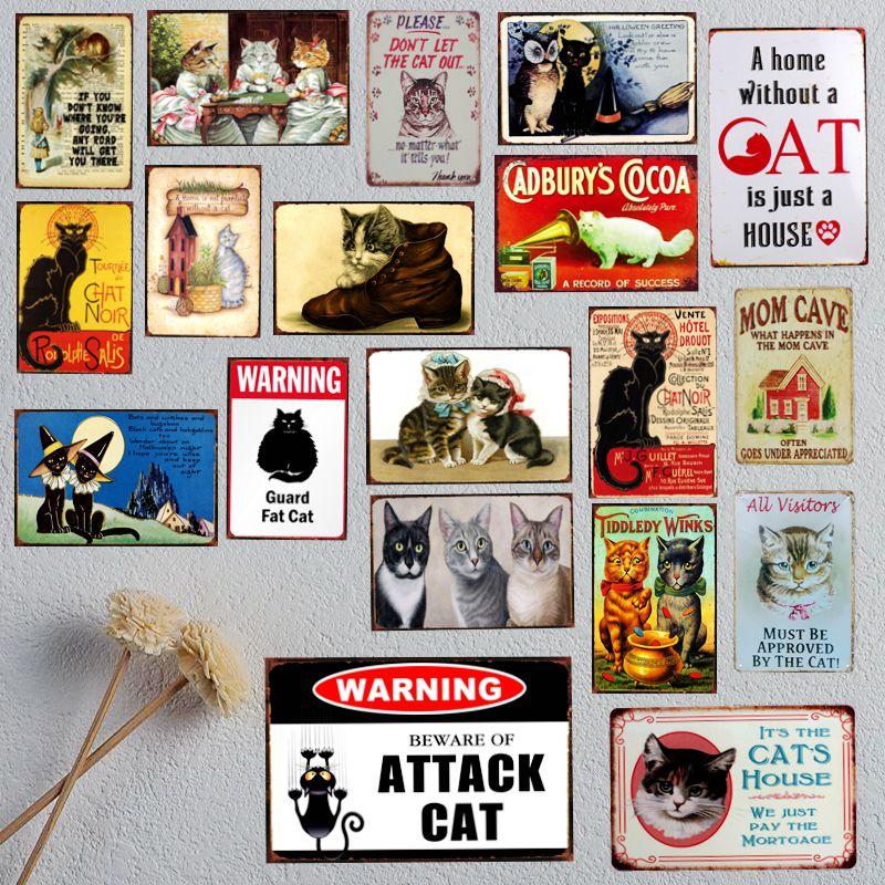 Жестяной винтажный декор в стиле ретро «Дом без кошки», 30 х20 см