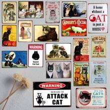 Uma casa sem gato é apenas uma casa metal animal de estimação estanho sinal placas vintage para a arte da parede retro decoração 30x20cm A-5195B