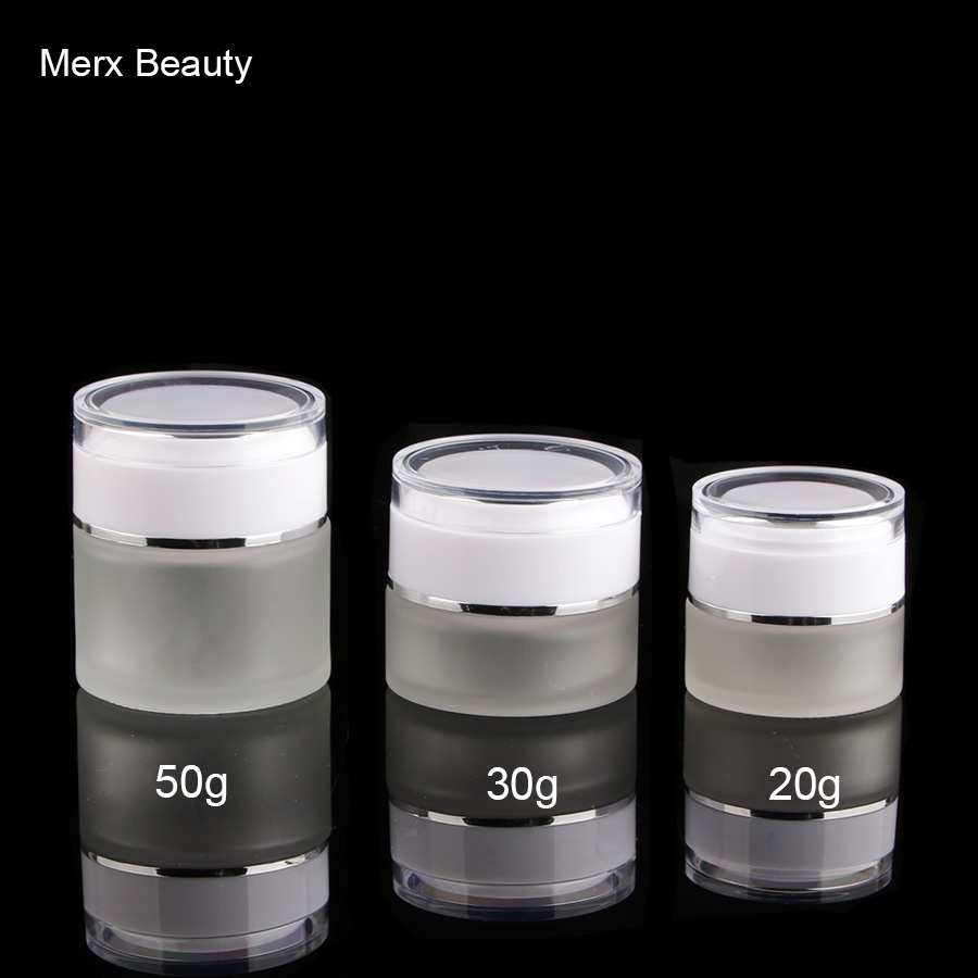 20G 30G 50G 1OZ FROSTED CLEAR GLASS COSMETIC CREAM JAR WITH WHITE ACRYLIC LID  6PCS/LOT, MERX BEAUTY BRAND 200pcs x 200g big frosted abs plastic cosmetic packaging bath salt jar with wooden spoon