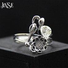 JINSE S925 Lotus Ring 925 Sterling Silver NEW Lotus Flower Leaf Bud Jewelry Symbol Namaste Yoga 17mm