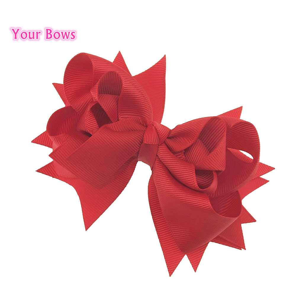 Your Bows 1PCS 5 Inches 3Layers Red Solid Girls Hair Bows Hairpins Polyester Ribbon Bows   Headwear   Children Hair Accessories