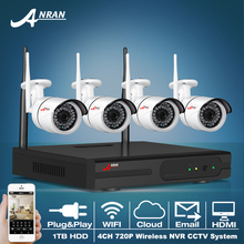ANRAN Plug&Pla 4CH Wireless NVR CCTV System 720P IP Camera WIFI Waterproof IR Night Vision Home Security Camera Surveillance Kit