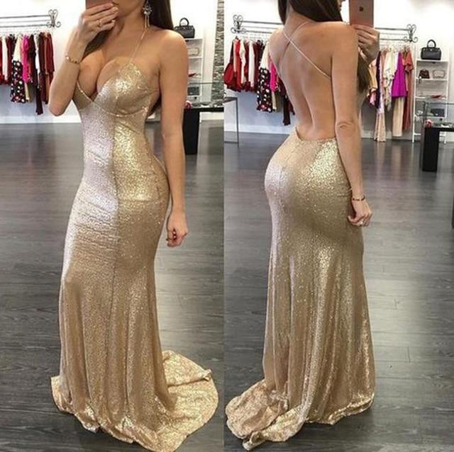 3f4e42d32f US $125.0 |robe bal de promo Gold Prom Dress Shinny Sequin V Neck Spaghetti  Strap Sexy Backless Bling Bling Mermaid Party Dresses P04-in Prom Dresses  ...