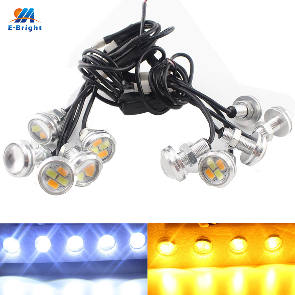 YM E-Bright  1Set 3W 5730 4SMD 10 IN 1 White/Amber Day Light  Dual Color LED Light For DRL & Turn Signal Light 12V DC zоом 3 day white with acp excel 3