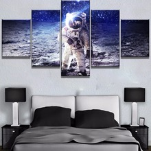 5 Piece Astronaut Painting Modern Bedroom Wall Home Decorative Starry Sky Poster On High Quality Canvas Printing Type Artwork