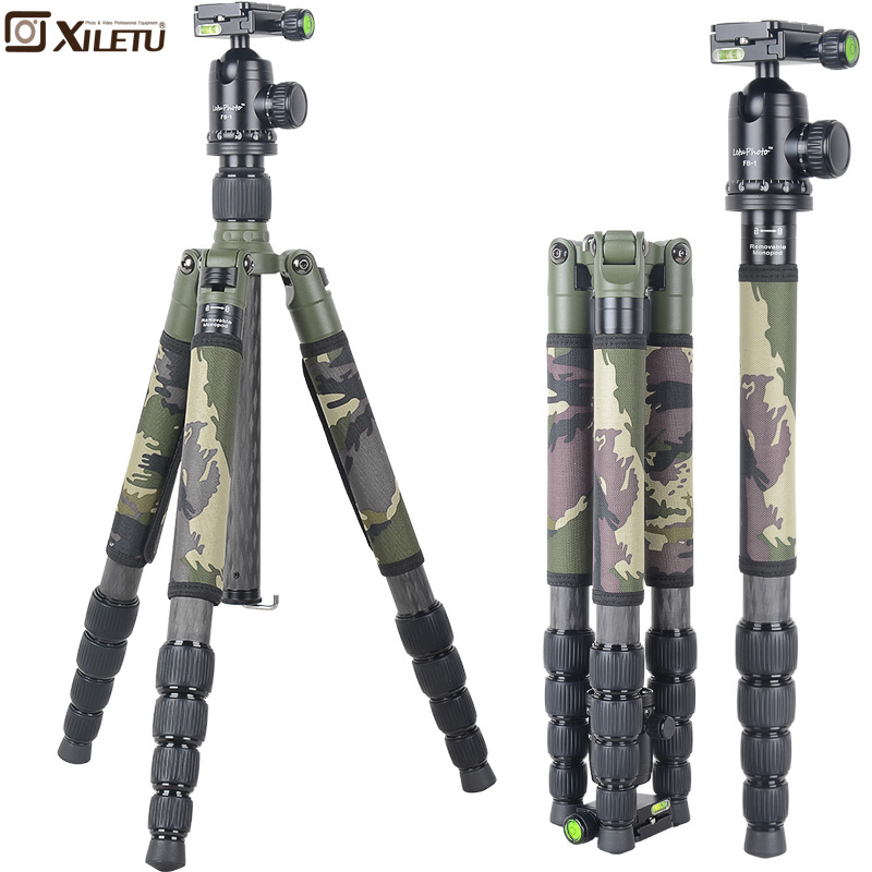Xiletu T285C FB1 Pro Stable Carbon Fiber font b Tripod b font Ball Head Removable Monopod