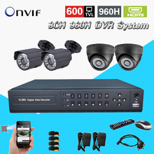 8 Channel cctv Security camera with DVR Recording System 4pc 600TVL Camera Kit 8ch 960h 3g dvr nvr hdmi 1080P CK-249
