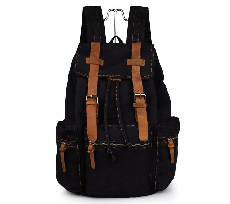 JMD New Style Canvas With Leather Straps Black Backpacks For Teenage Girls 9003AJMD New Style Canvas With Leather Straps Black Backpacks For Teenage Girls 9003A