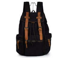 JMD New Style Canvas With Leather Straps Black Backpacks For Teenage Girls # 9003A