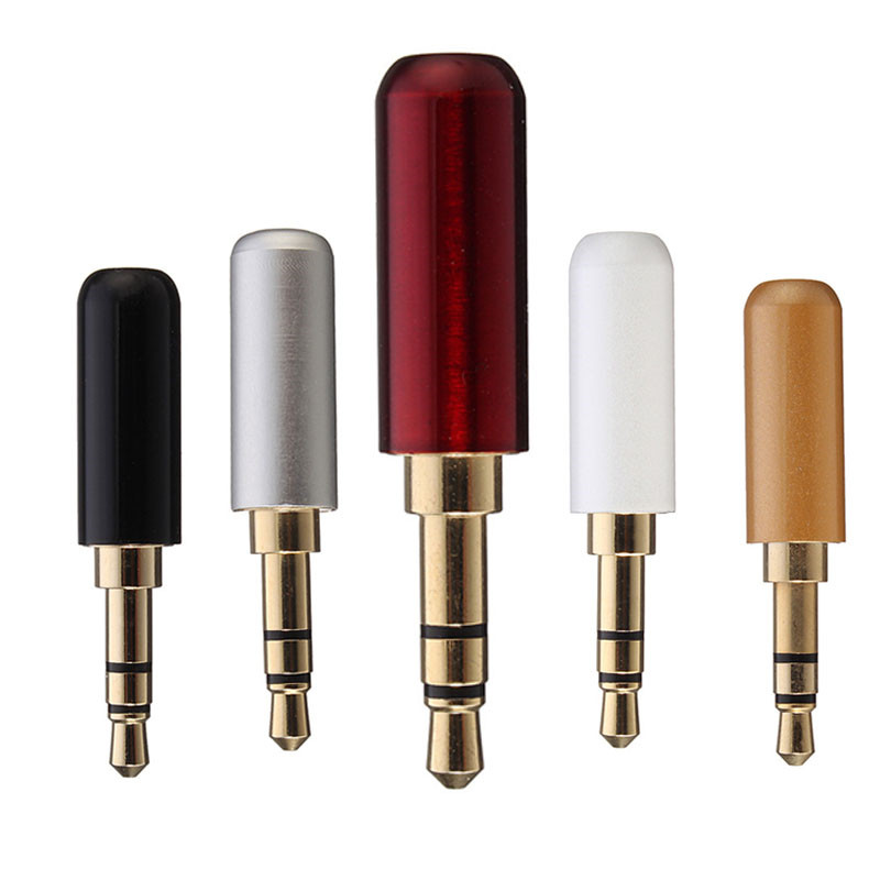 Duable Quality 3 Pole 3.5mm Male Headphone Jack Plug Metal Audio Soldering  Back cover 5 Colours Hot Sale wsfs hot 10 pcs black plastic housing 3 5mm audio jack plug headphone connector