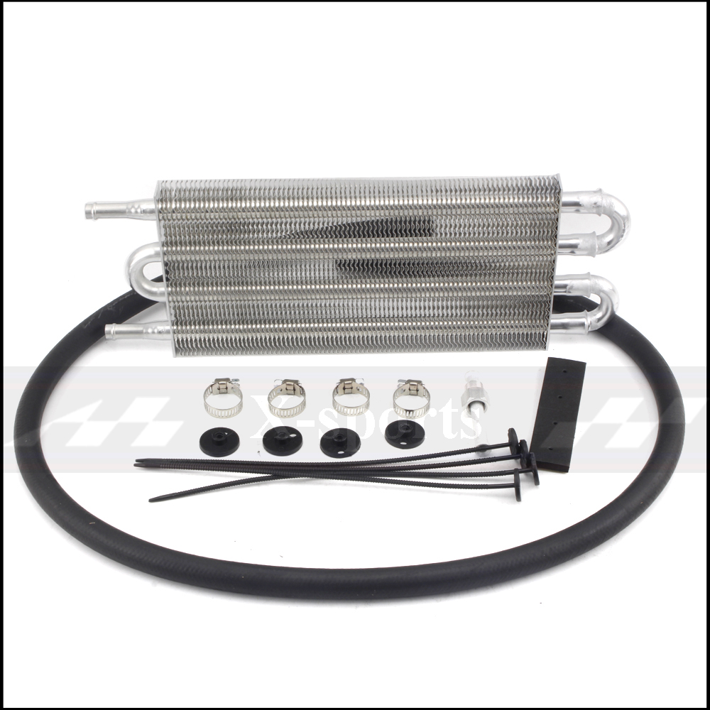 Car Cooling System Radiator AT/MT Transmission Oil Cooler Kit Universal Aluminum Core Body Size 4 Row 250*127*20 Black SilverCar Cooling System Radiator AT/MT Transmission Oil Cooler Kit Universal Aluminum Core Body Size 4 Row 250*127*20 Black Silver