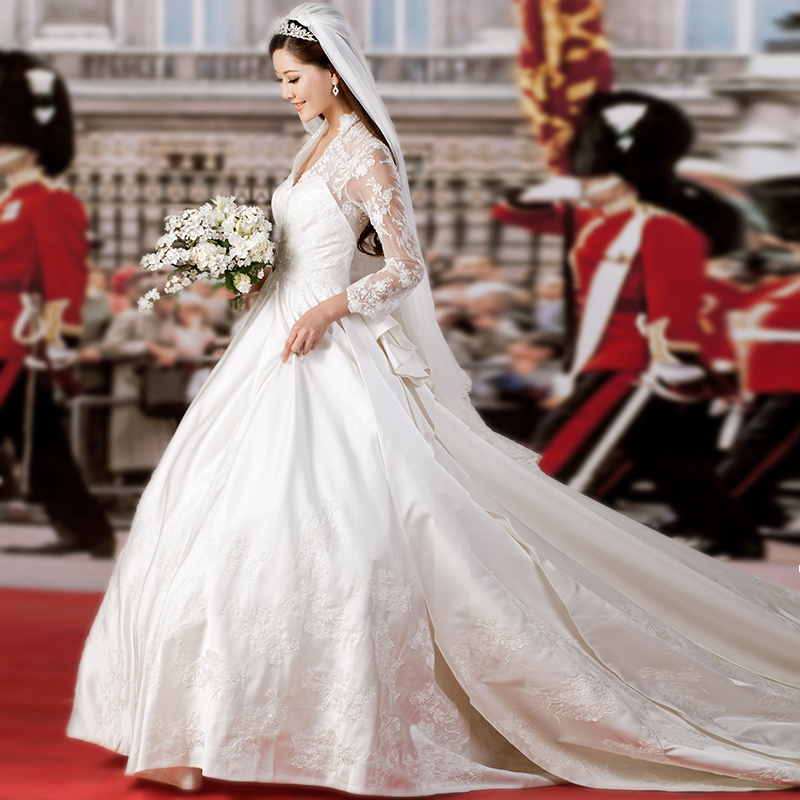 Royal Kate Elie Saab Elegant 2014 V Neck Long Sleeves Train Lace