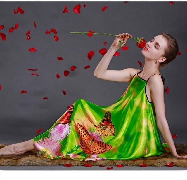 Summer Loose Nightgown Women Mid Calf Strappy Sleep Dress Butterfly Print Faux Silk Female Sleepwear Night Gown Bathrobe SY15
