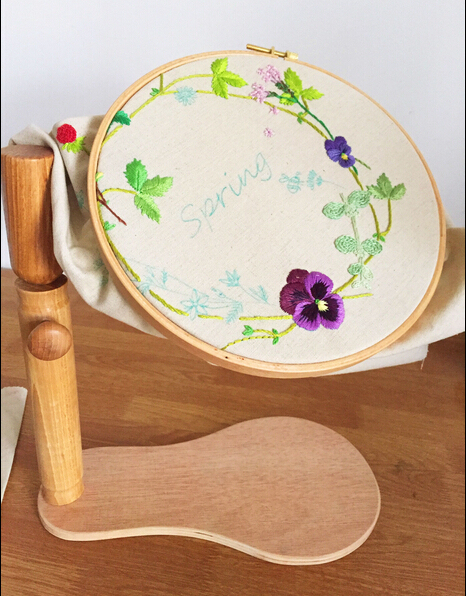 Dia21cm Embroidery Wooden Hoop Cross Stitch Rack Adjustable Desktop Frames Lacis Tambour Round Frame 360 degree rotation