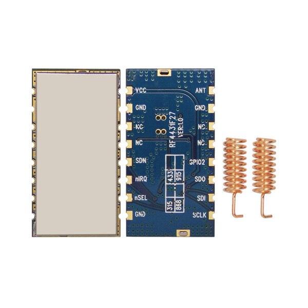 imágenes para 2 unids/lote embedded de alto rendimiento 3 km 868 MHz 500 mW Transmisor Inalámbrico Módulo Receptor RF FSK/GFSK RF4432F27