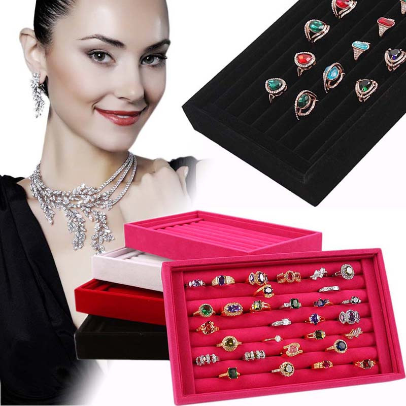 GEMIXI Full Velvet Ring Box Jewelry Box Earrings Ring Jewelry Box Tray Box 4.9 ring luisa vannini jewelry ring