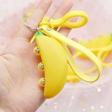 Cartoon Funny Expression Banana Keychain Cute Decompression Toy Keyring Handbag Charm Pendant For Children