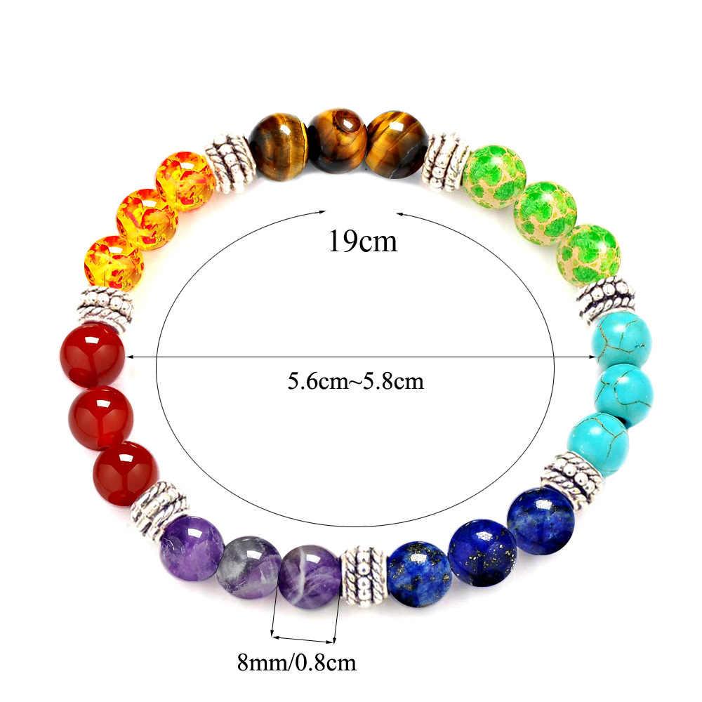 7 CHAKRA pierre naturelle violet cristal pierre tigre yeux pierre perles bracelet sept impulsion ronde yoga énergie pierre bracelet