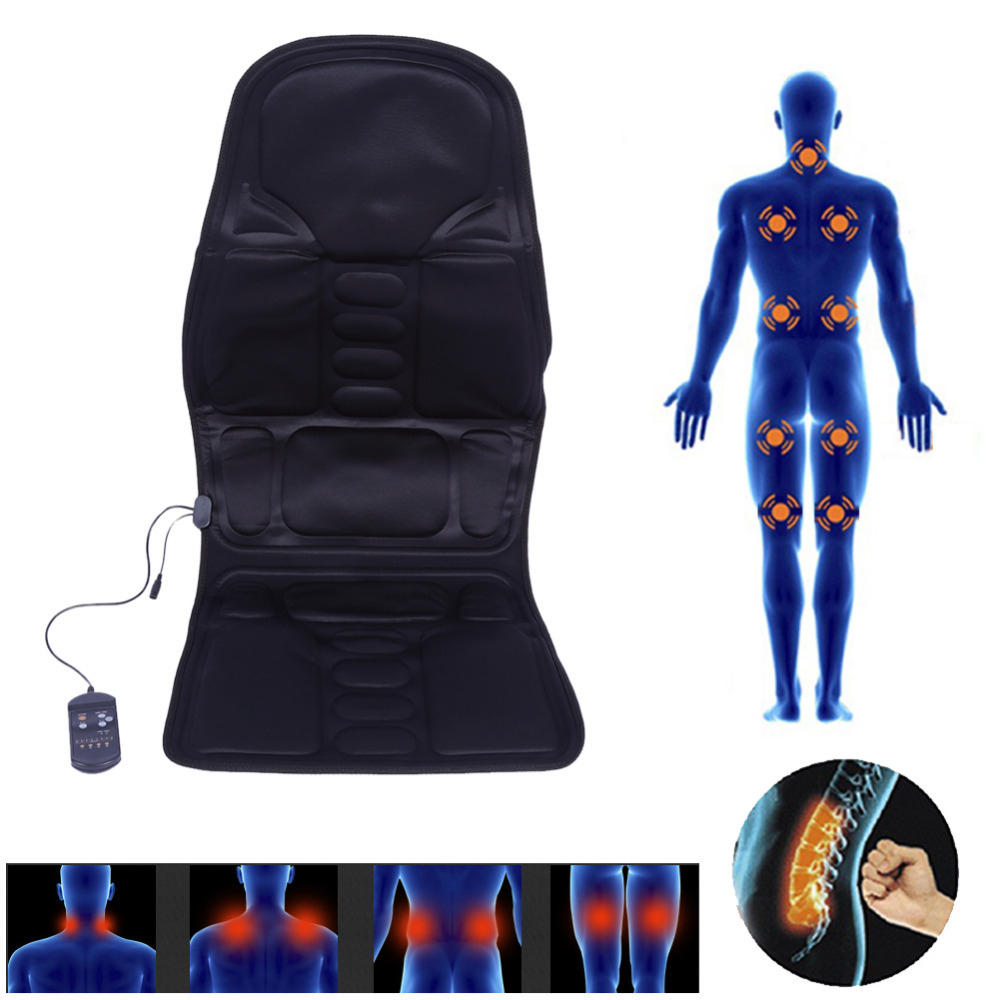 все цены на From Russia Electric Massager Chair Massage Chairs Seat Vibrator Body Back Neck massagem Cushion Heat Pad For leg Waist massagea