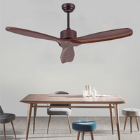 52 inch luxury ceiling fan Without Light Home Bedroom living Room Fan 220v Ceiling Fan Wood Remote Control 3 wooden blades
