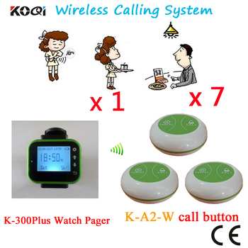 Pager Waiter Calling System Sound Voice Bell Restaurant Pager CE Passed With Beautiful Design(1 watch+7 button)