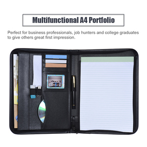 Image 5 - A4 PU Leather  office document folder Multifunctiona Business Portfolio Padfolio Folder Zippered Closure with Business Card