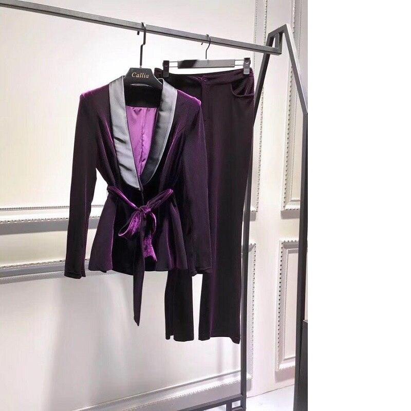 Velvet Tracksuit 2019 Spring Autumn Fashion Blazer Sets Women Notched Collar Bow Belt Blazer Jacket+Full Length Velour Pant Set