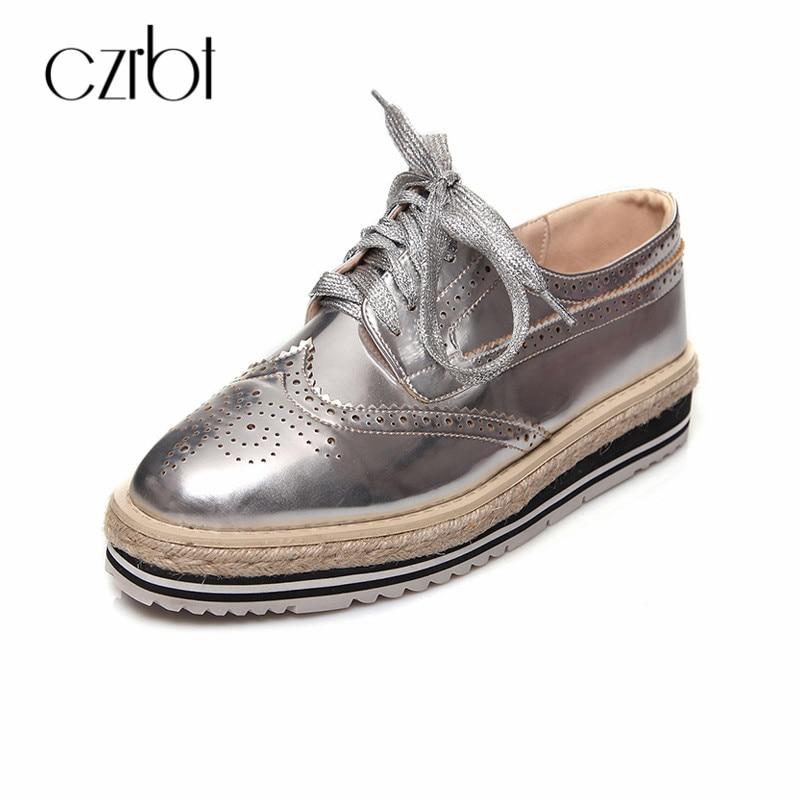 Czrbt плюс Размеры женская обувь на плоской подошве обувь Новые Летние продукты из натуральной кожи со шнуровкой повседневная обувь соломенн...