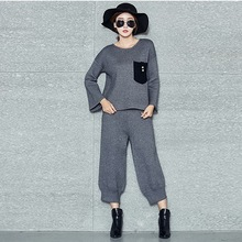 2017 Spring New Fashion Knit Tops + Wide Leg Pants 2 Sets Women Casual Loose Knitted Suit Black Gray Red L011