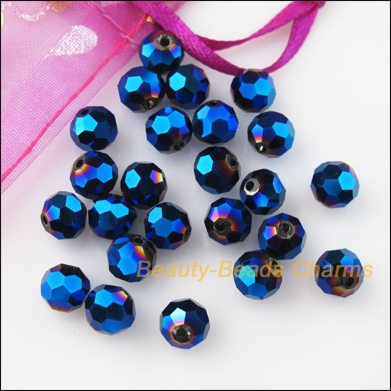 60 New Charms Shiny Violet Loose Faceted Ball Glass Crystal Spacer Beads 6mm