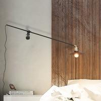 Luminaria Loft Retro Industrial Wind Aisle Balcony Iron Wall Lamp Simple Originality Restaurant Bar Long Arm Decor LED Lights