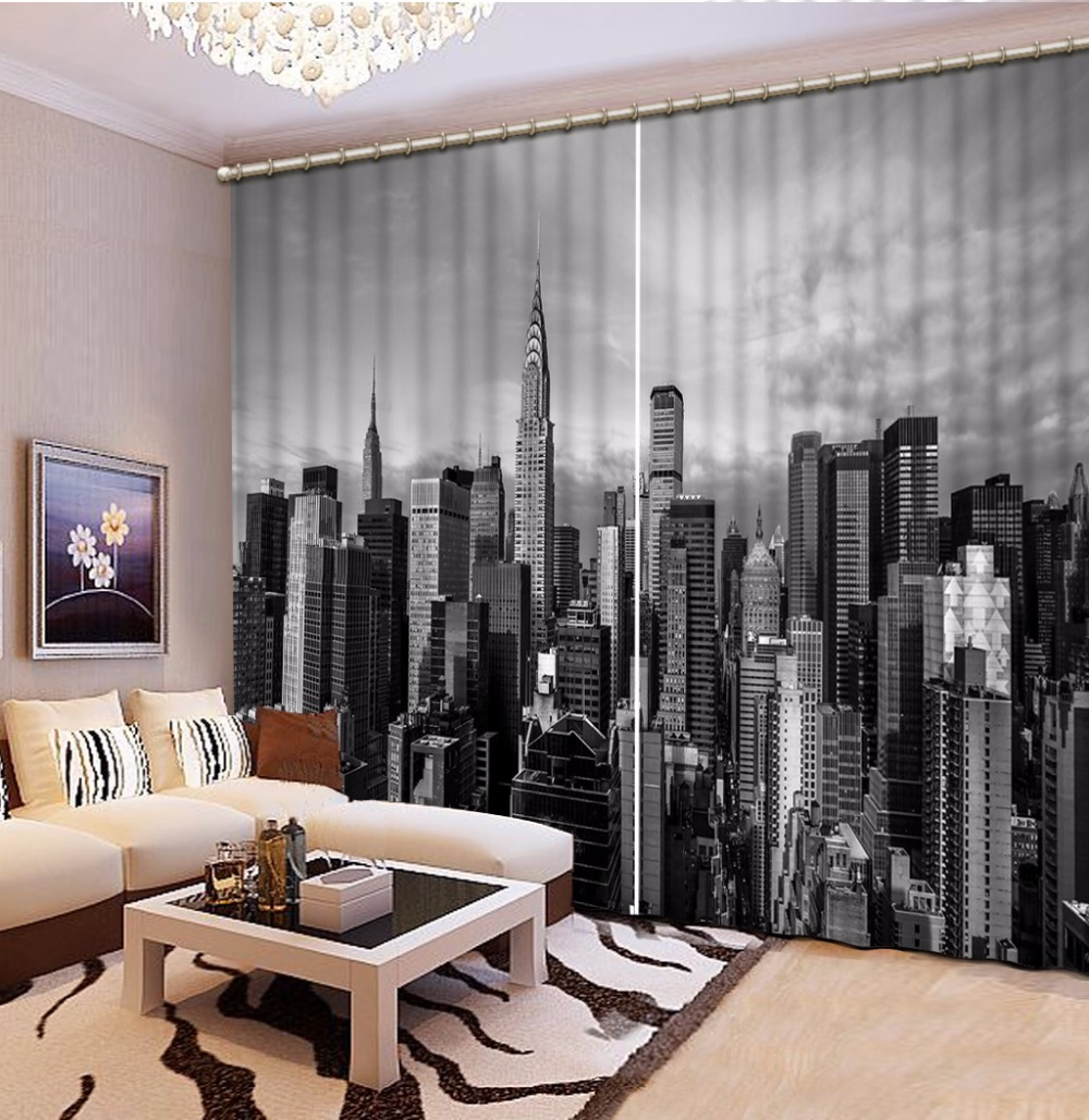 Blackout Black White Curtains night city view Sheer Curtains For ...