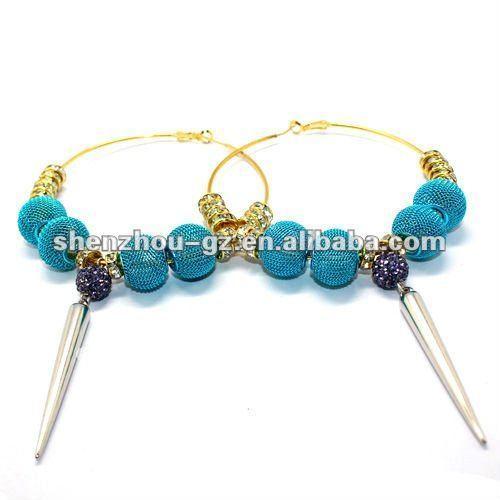 Handmade crystal ball spike hoop earrings BSK-L-003
