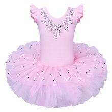 BAOHULU-tutú de Ballet para niñas, vestido de tul sin mangas para gimnasia, leotardo de diamante rosa con patrón de lazos, leotardo de Ballet para niña bailarina