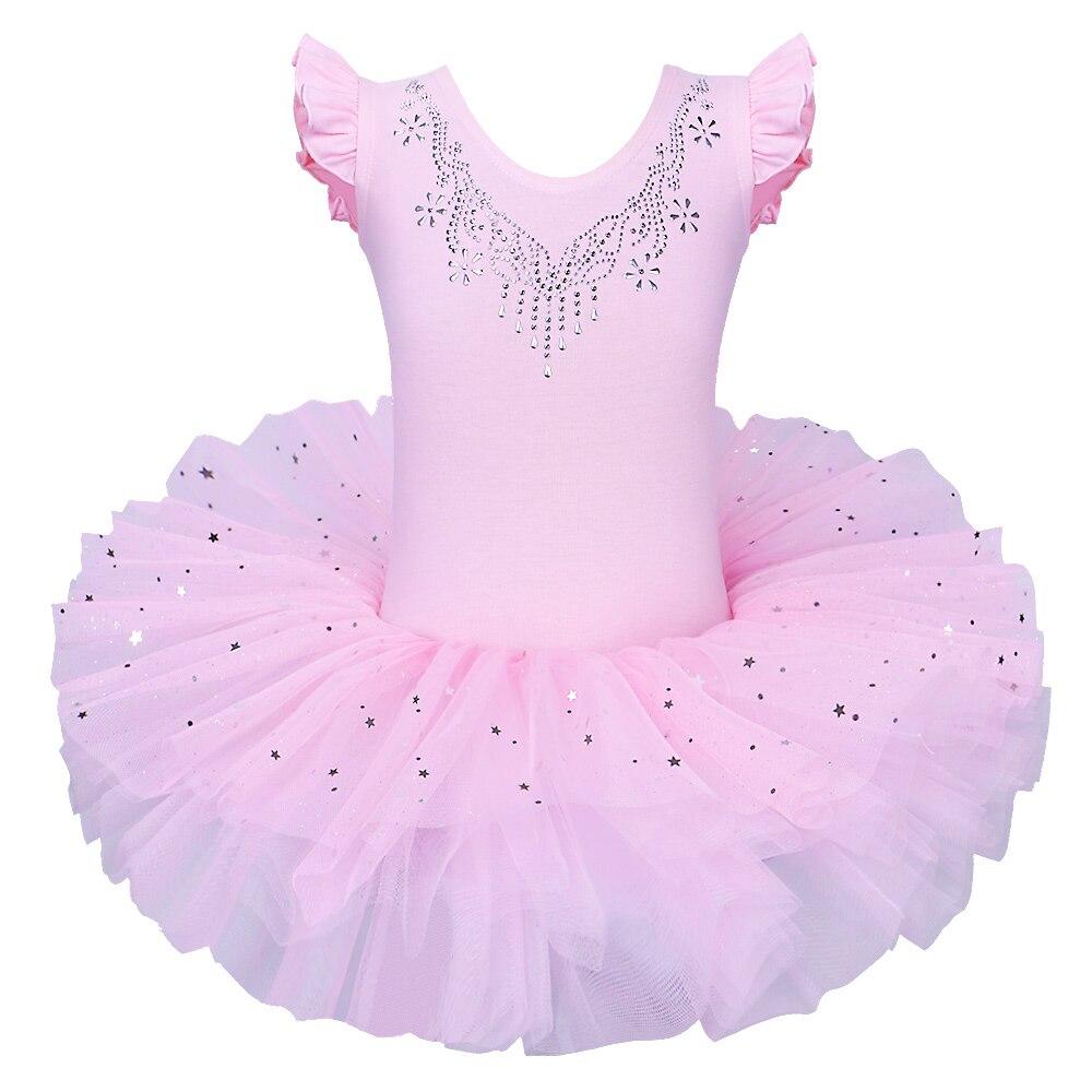 BAOHULU, tutú de Ballet para niñas, vestido de tul, sin mangas, leotardo de gimnasia, diamante, rosa, patrón de lazos, leotardo de Ballet para niña bailarina