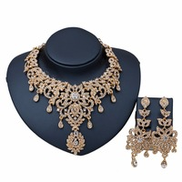 OUHE Jewelry Full Clear Crystal Rhinestones Statement Necklace Earrings For Women Indian Bridal Wedding Jewelry sets