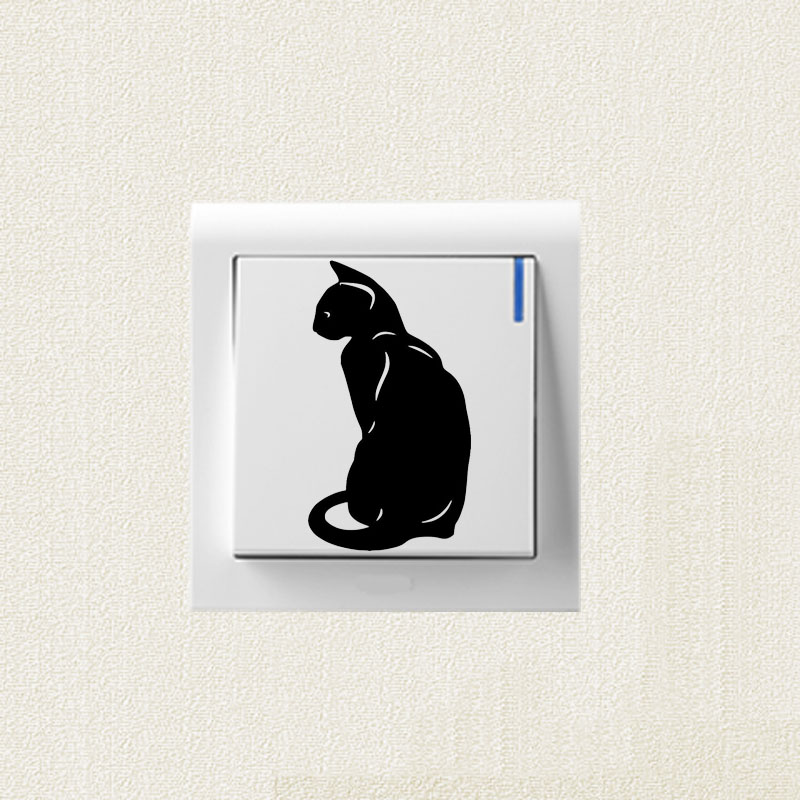 Bedroom Decoration Classic Pet Cat Vinyl Decal Switch Personality Stickers 2ss0366