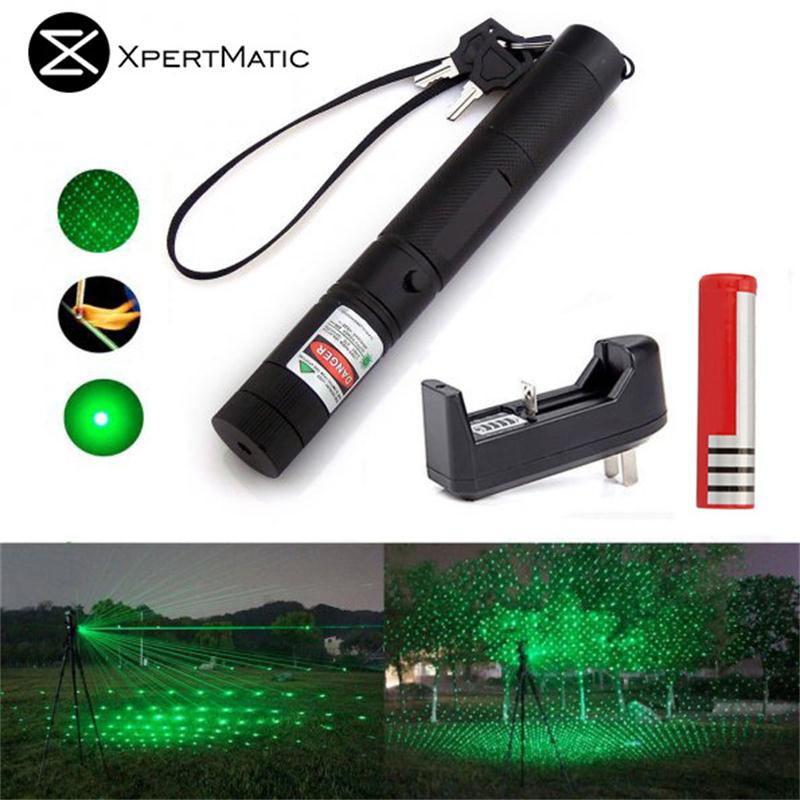 XpertMatic Military 532nm 5mw 303 Green verde Laser Pen Lazer Pointer Burning Beam Burn Match with 18650 Battery and Charger