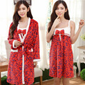 Robe Sexy Lady Winter Flannel Mini Set Nightgowns Women Long Sleeved Two Piece Nightgown-robe-set