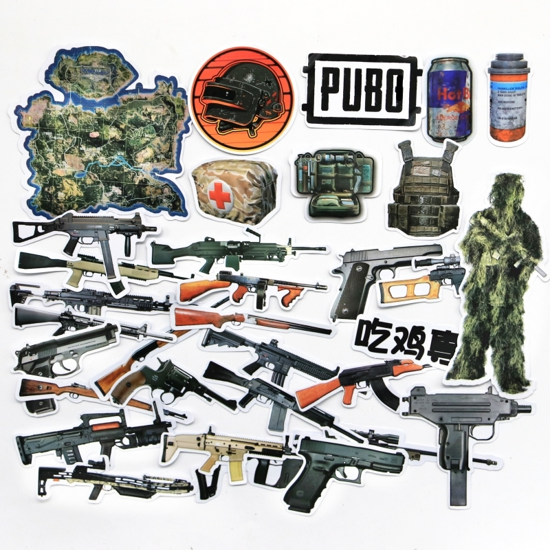 32 PCS/Lot  Playerunknown's Battlegrounds Gun PUBG Game Stickers 98k AKM M416 Sticker For Phone Suitcase Stickers GIFT For Child