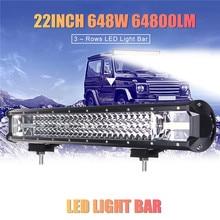 NEw Linterna led 22 Inch 648W LED Work Light Bar Flood Spot Combo Driving Lamp Car Truck Offroad led flashlights headlight Hot