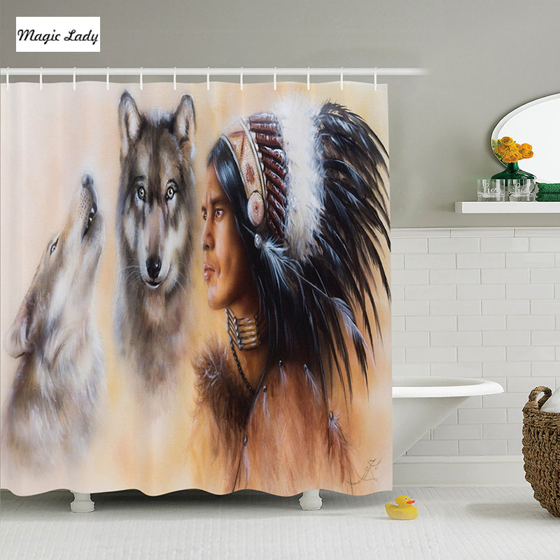 Native American Home Decor: Shower Curtain USA Native American Decor Collection Indian