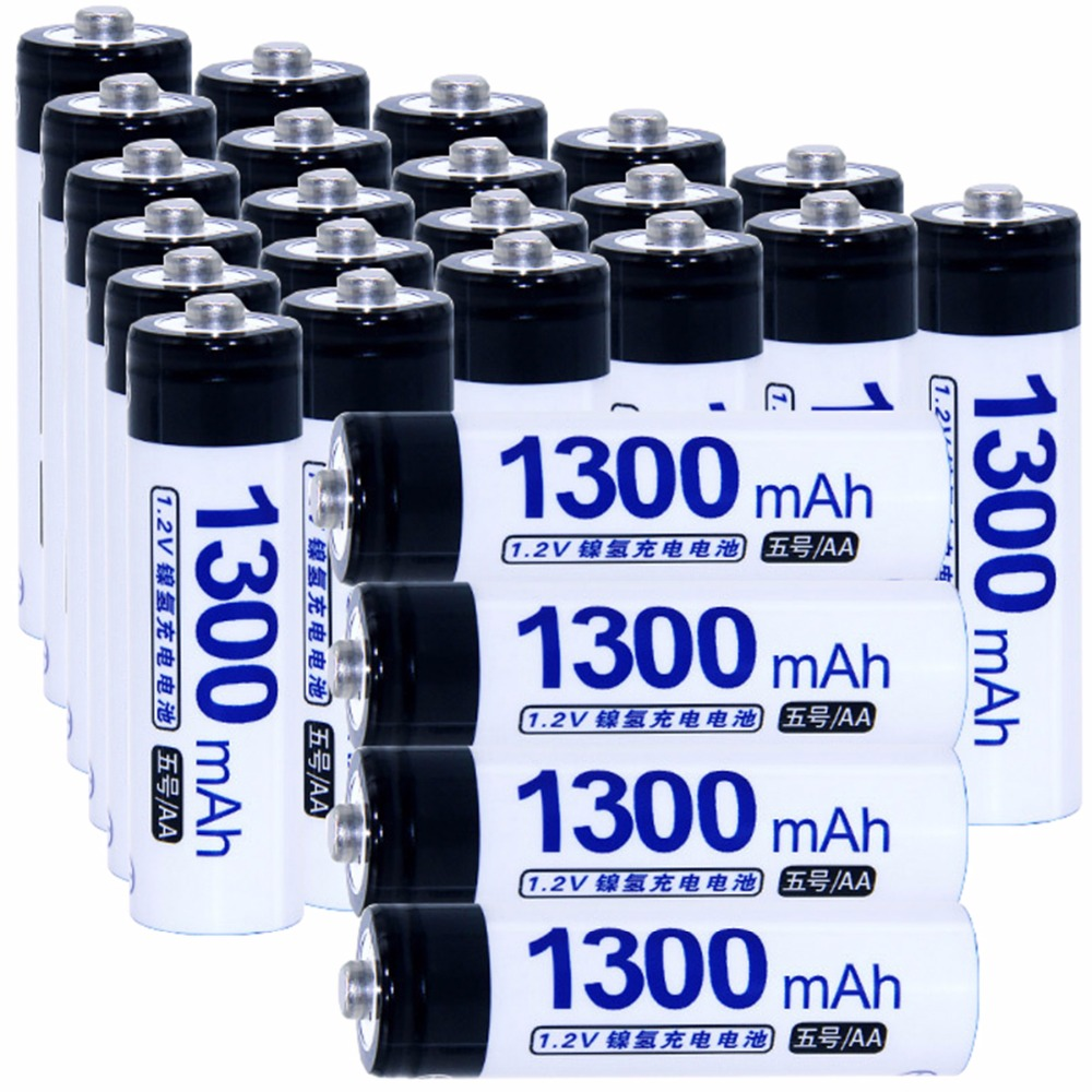True capacity! 25 pcs AA 1.2V NIMH AA rechargeable batteries 1300mah for camera razor toy remote control flashlight 2A batterie